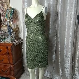 ADRIANNA PAPELl Lace Mini Cocktail Dress
